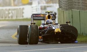 Sebastian Vettel after crashing with Kubica, Australia 2009