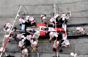 Timo Glock makes a pitstop, Malaysia, 2009