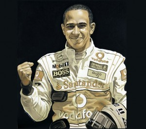 Lewis Hamilton painted in used motor oil by David Macaluso